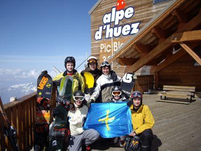 Bandera de Asturias en Glaciar de Alpe d'Huez